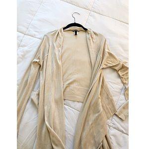 BCBG Silk & Cashmere Cream Wrap Cardigan Sweater